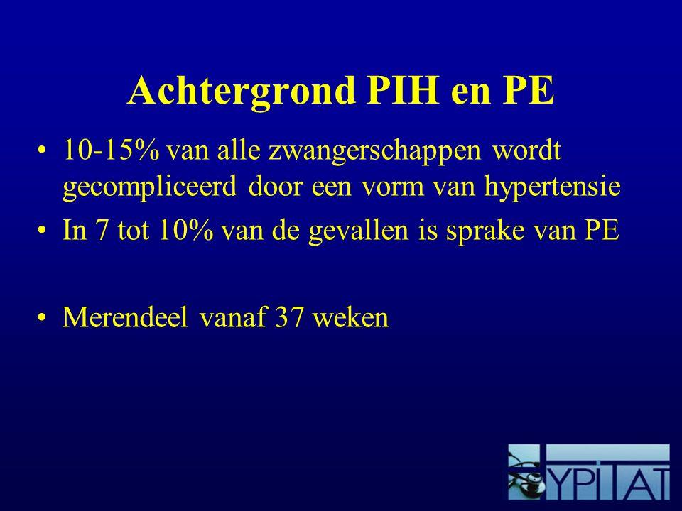 Achtergrond PIH en PE 10-15% van alle zwangerschappen wordt gecompliceerd door een vorm van hypertensie In 7 tot 10% van de gevallen is sprake van PE