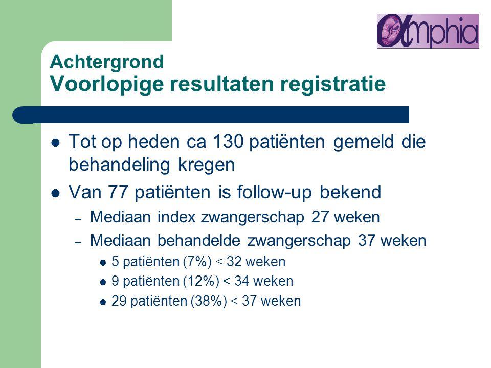 Achtergrond Voorlopige resultaten registratie Tot op heden ca 130 patiënten gemeld die behandeling kregen Van 77 patiënten is follow-up bekend – Media