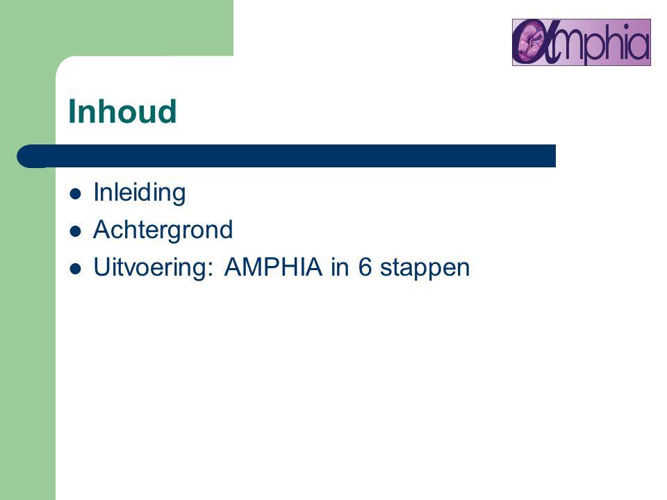Inhoud Inleiding Achtergrond Uitvoering: AMPHIA in 6 stappen