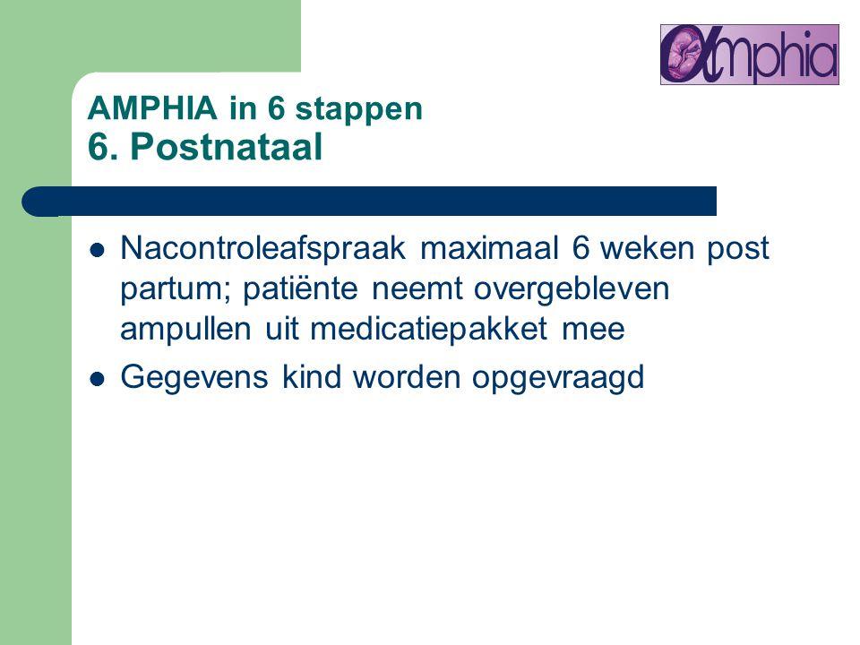 AMPHIA in 6 stappen 6. Postnataal Nacontroleafspraak maximaal 6 weken post partum; patiënte neemt overgebleven ampullen uit medicatiepakket mee Gegeve