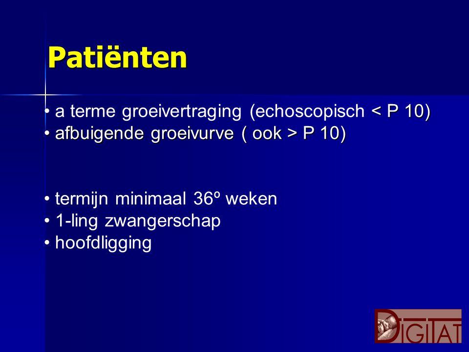 < P 10) a terme groeivertraging (echoscopisch < P 10) afbuigende groeivurve ( ook > P 10) afbuigende groeivurve ( ook > P 10) termijn minimaal 36º wek