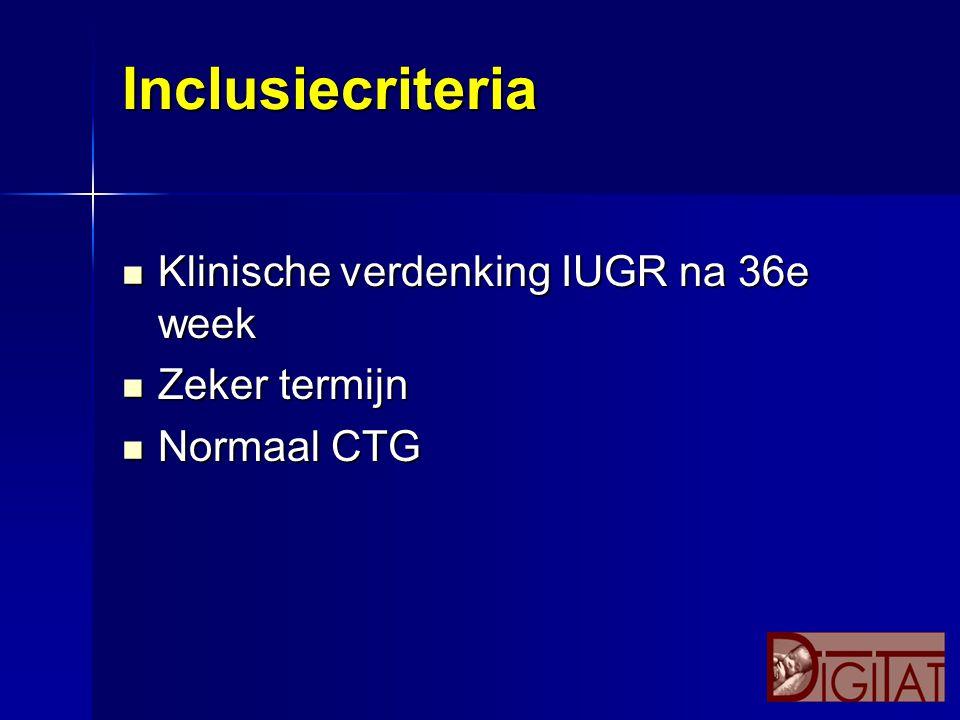 Inclusiecriteria Klinische verdenking IUGR na 36e week Klinische verdenking IUGR na 36e week Zeker termijn Zeker termijn Normaal CTG Normaal CTG