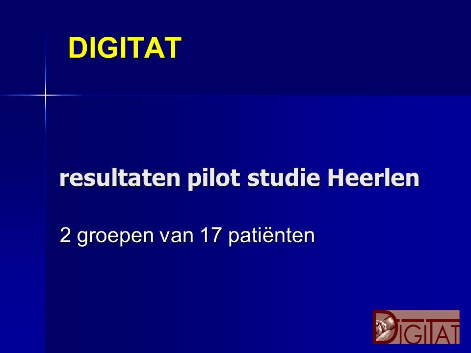 DIGITAT 2 groepen van 17 patiënten resultaten pilot studie Heerlen resultaten pilot studie Heerlen