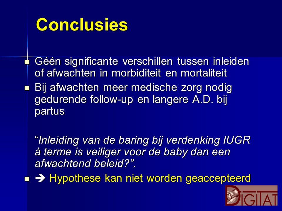 Conclusies Géén significante verschillen tussen inleiden of afwachten in morbiditeit en mortaliteit Géén significante verschillen tussen inleiden of a