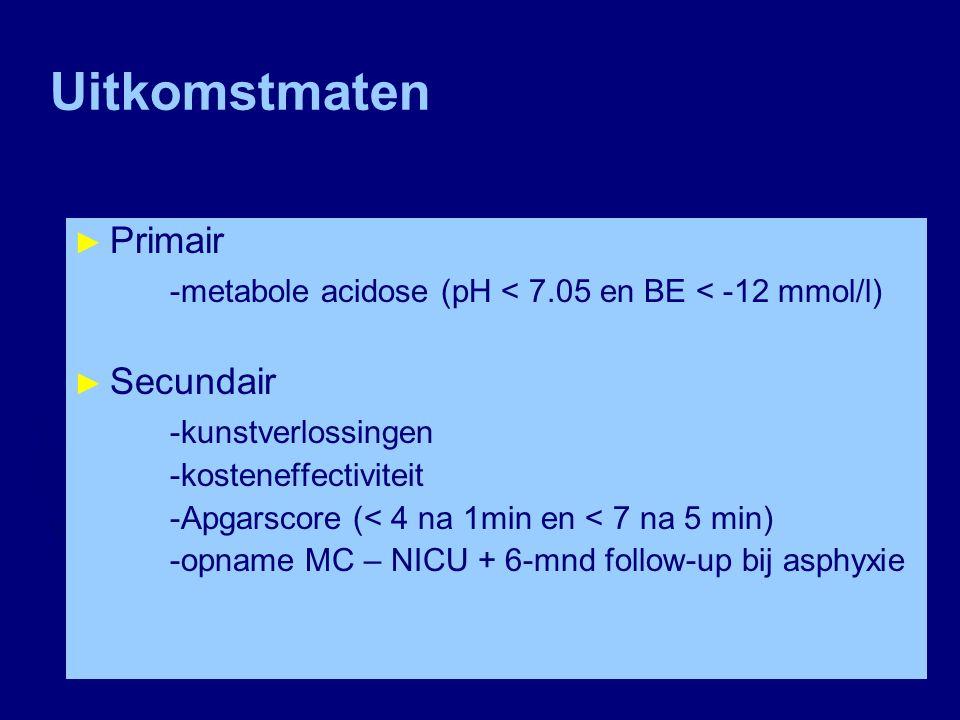 Uitkomstmaten ► Primair -metabole acidose (pH < 7.05 en BE < -12 mmol/l) ► Secundair -kunstverlossingen -kosteneffectiviteit -Apgarscore (< 4 na 1min