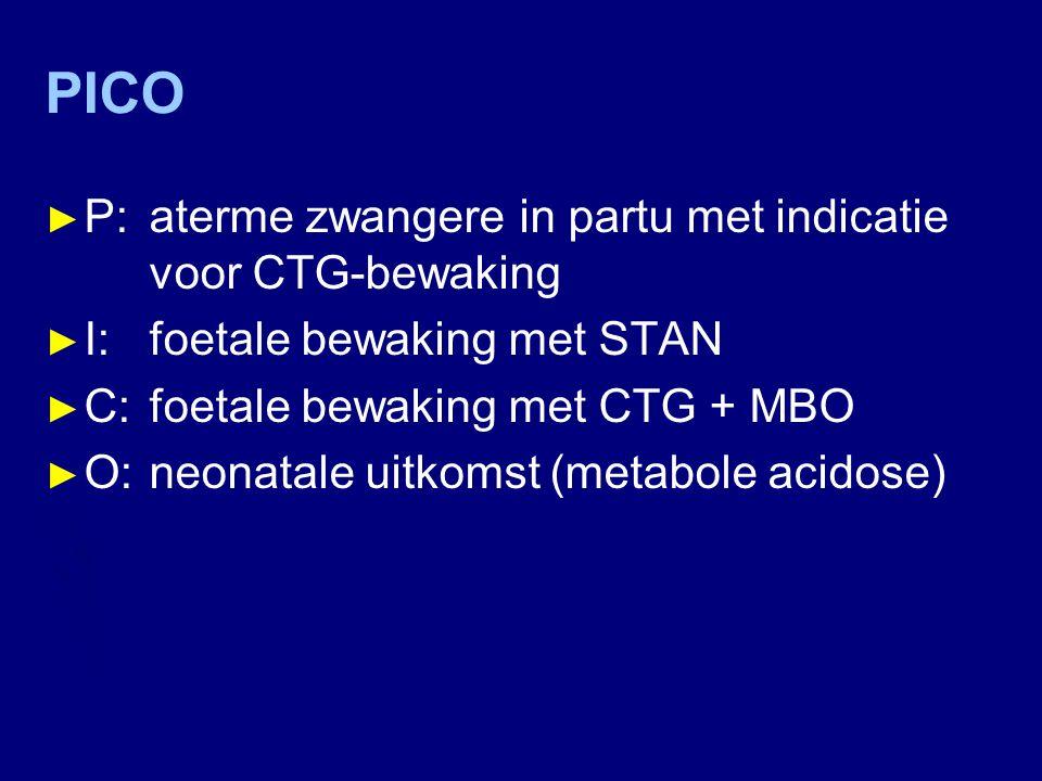 PICO ► P: aterme zwangere in partu met indicatie voor CTG-bewaking ► I: foetale bewaking met STAN ► C: foetale bewaking met CTG + MBO ► O:neonatale ui