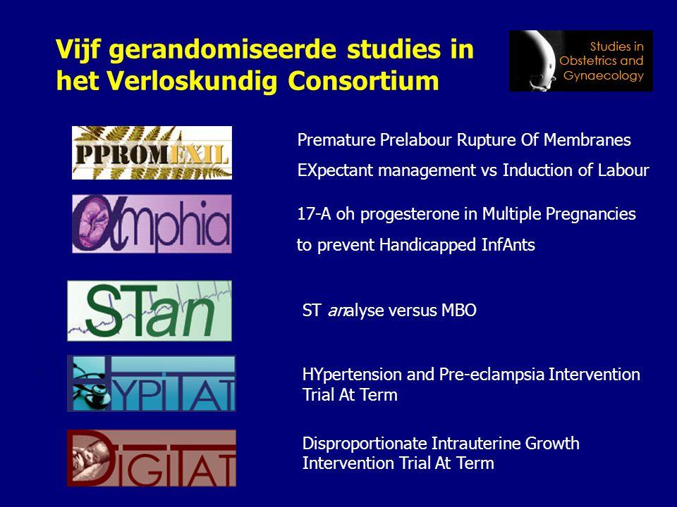 Vijf gerandomiseerde studies in het Verloskundig Consortium HYpertension and Pre-eclampsia Intervention Trial At Term Disproportionate Intrauterine Gr