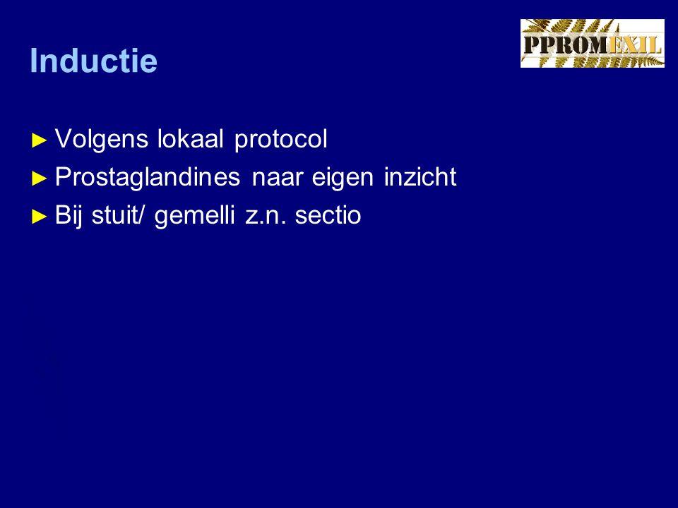 Inductie ► Volgens lokaal protocol ► Prostaglandines naar eigen inzicht ► Bij stuit/ gemelli z.n. sectio