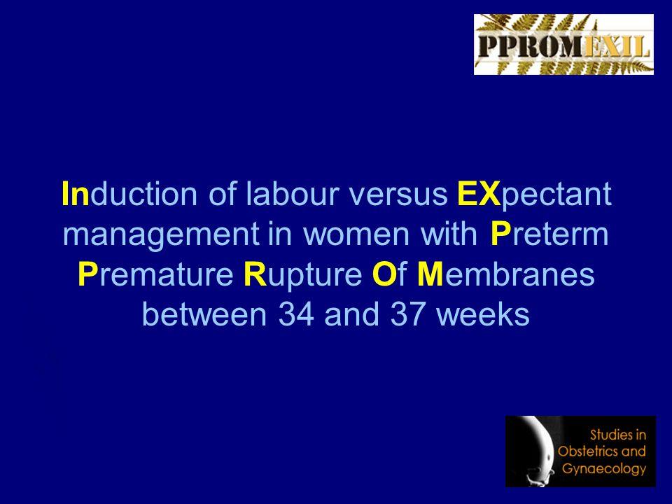 Achtergrond PPROM 34 – 37 wk ► Incidentie 1.5% ► 3.000 gevallen per jaar in NL ► 25% van de patienten bevalt < 24 uur ► Wat te doen bij de overige 75%?