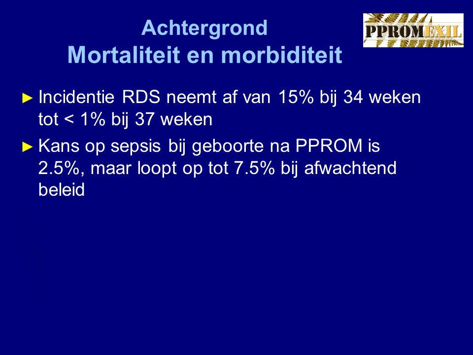 Achtergrond Mortaliteit en morbiditeit ► Incidentie RDS neemt af van 15% bij 34 weken tot < 1% bij 37 weken ► Kans op sepsis bij geboorte na PPROM is