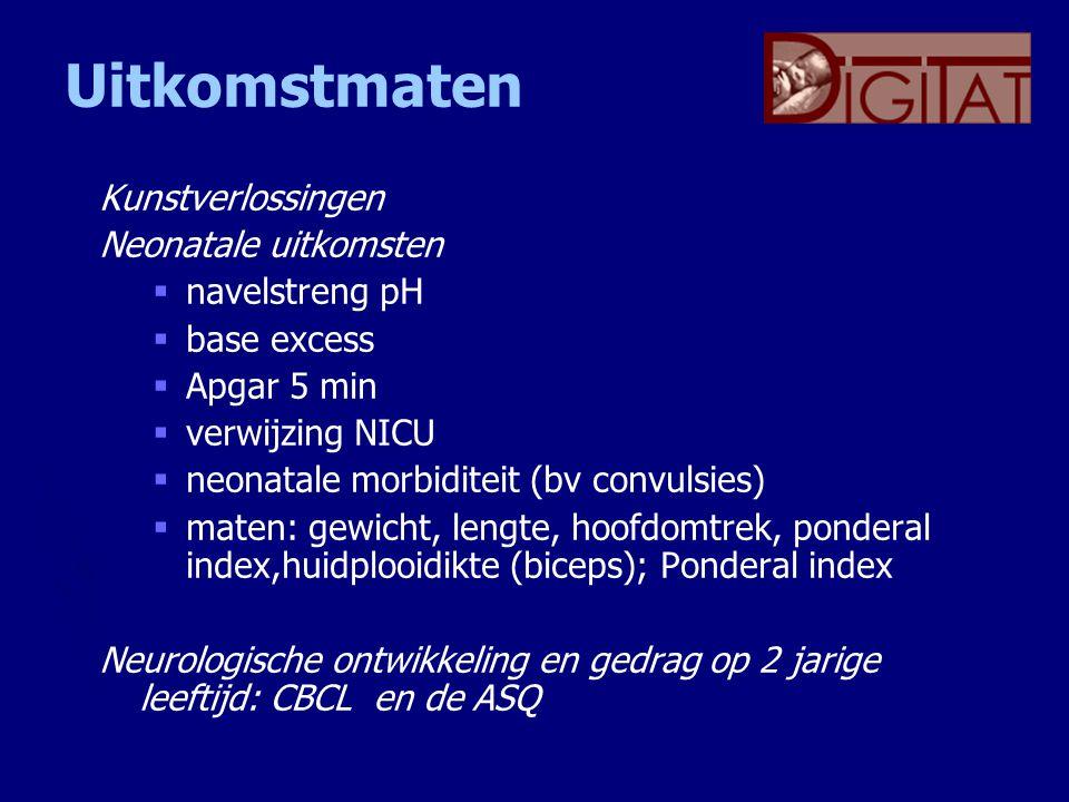 Uitkomstmaten Kunstverlossingen Neonatale uitkomsten  navelstreng pH  base excess  Apgar 5 min  verwijzing NICU  neonatale morbiditeit (bv convul