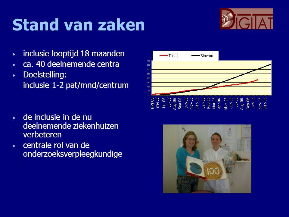 Stand van zaken inclusie looptijd 18 maanden ca. 40 deelnemende centra Doelstelling: inclusie 1-2 pat/mnd/centrum de inclusie in de nu deelnemende zie