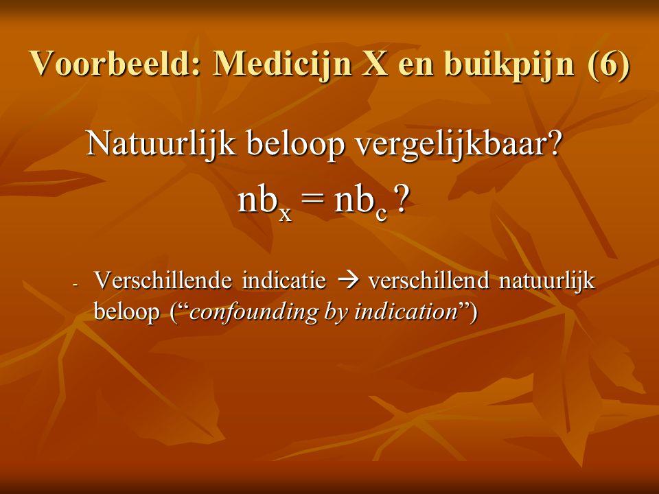 """Voorbeeld: Medicijn X en buikpijn (6) Natuurlijk beloop vergelijkbaar? nb x = nb c ? - Verschillende indicatie  verschillend natuurlijk beloop (""""conf"""