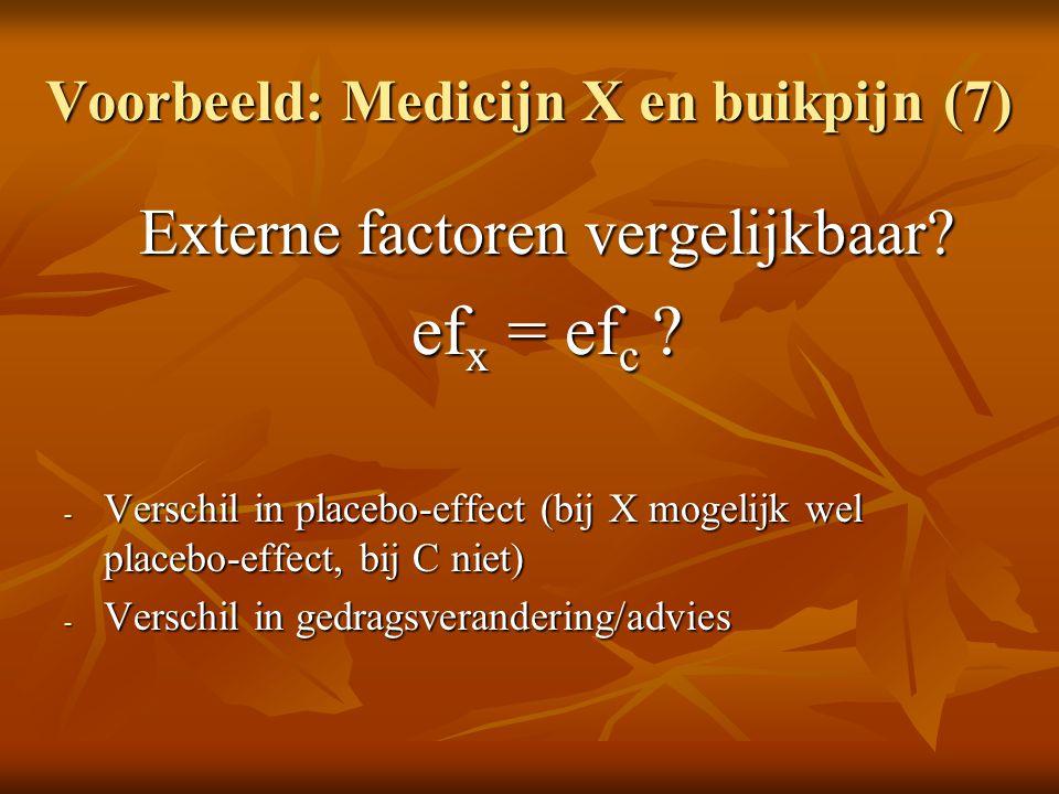 Voorbeeld: Medicijn X en buikpijn (7) Externe factoren vergelijkbaar? ef x = ef c ? - Verschil in placebo-effect (bij X mogelijk wel placebo-effect, b