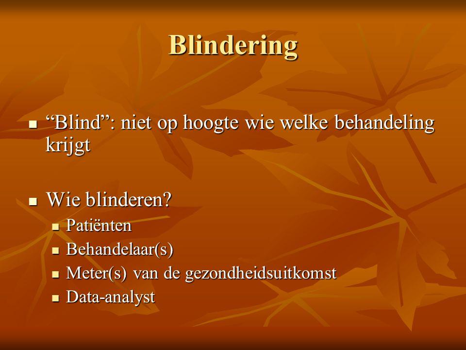 """Blindering """"Blind"""": niet op hoogte wie welke behandeling krijgt """"Blind"""": niet op hoogte wie welke behandeling krijgt Wie blinderen? Wie blinderen? Pat"""