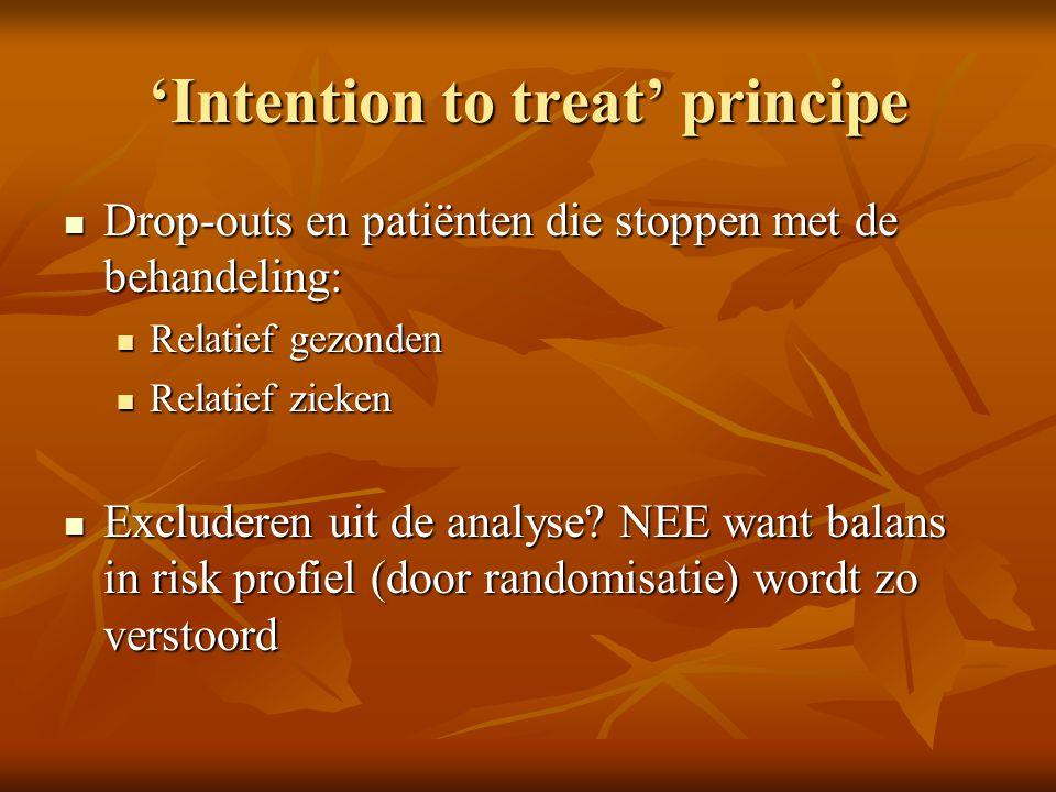 'Intention to treat' principe Drop-outs en patiënten die stoppen met de behandeling: Drop-outs en patiënten die stoppen met de behandeling: Relatief g