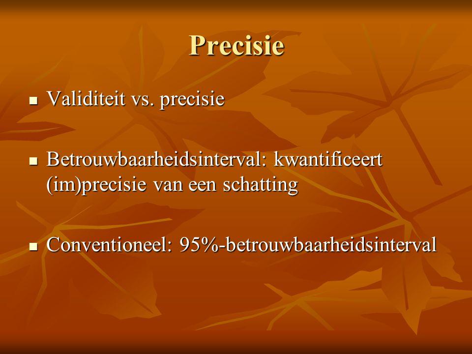 Precisie Validiteit vs. precisie Validiteit vs. precisie Betrouwbaarheidsinterval: kwantificeert (im)precisie van een schatting Betrouwbaarheidsinterv