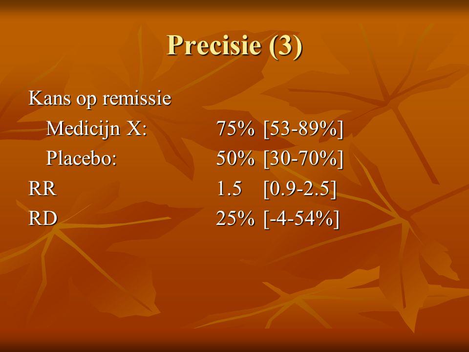 Precisie (3) Kans op remissie Medicijn X: 75% [53-89%] Placebo: 50% [30-70%] RR 1.5 [0.9-2.5] RD 25%[-4-54%]