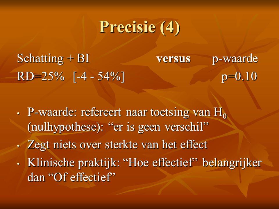 """Precisie (4) Schatting + BI versus p-waarde RD=25%[-4 - 54%] p=0.10 P-waarde: refereert naar toetsing van H 0 (nulhypothese): """"er is geen verschil"""" P-"""