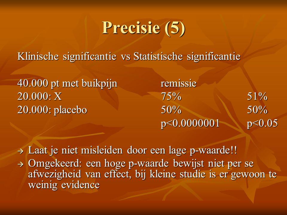 Precisie (5) Klinische significantie vs Statistische significantie 40.000 pt met buikpijnremissie 20.000: X75%51% 20.000: placebo50%50% p<0.0000001 p<