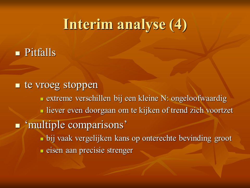 Interim analyse (4) Pitfalls Pitfalls te vroeg stoppen te vroeg stoppen extreme verschillen bij een kleine N: ongeloofwaardig extreme verschillen bij