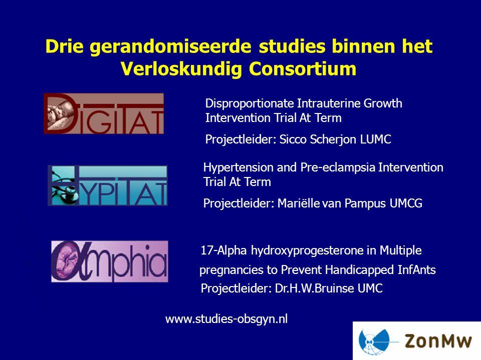 Drie gerandomiseerde studies binnen het Verloskundig Consortium Hypertension and Pre-eclampsia Intervention Trial At Term Projectleider: Mariëlle van