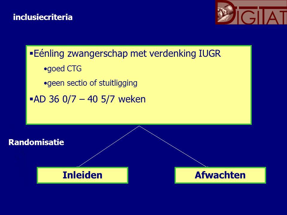  Eénling zwangerschap met verdenking IUGR goed CTG geen sectio of stuitligging  AD 36 0/7 – 40 5/7 weken InleidenAfwachten inclusiecriteria Randomisatie