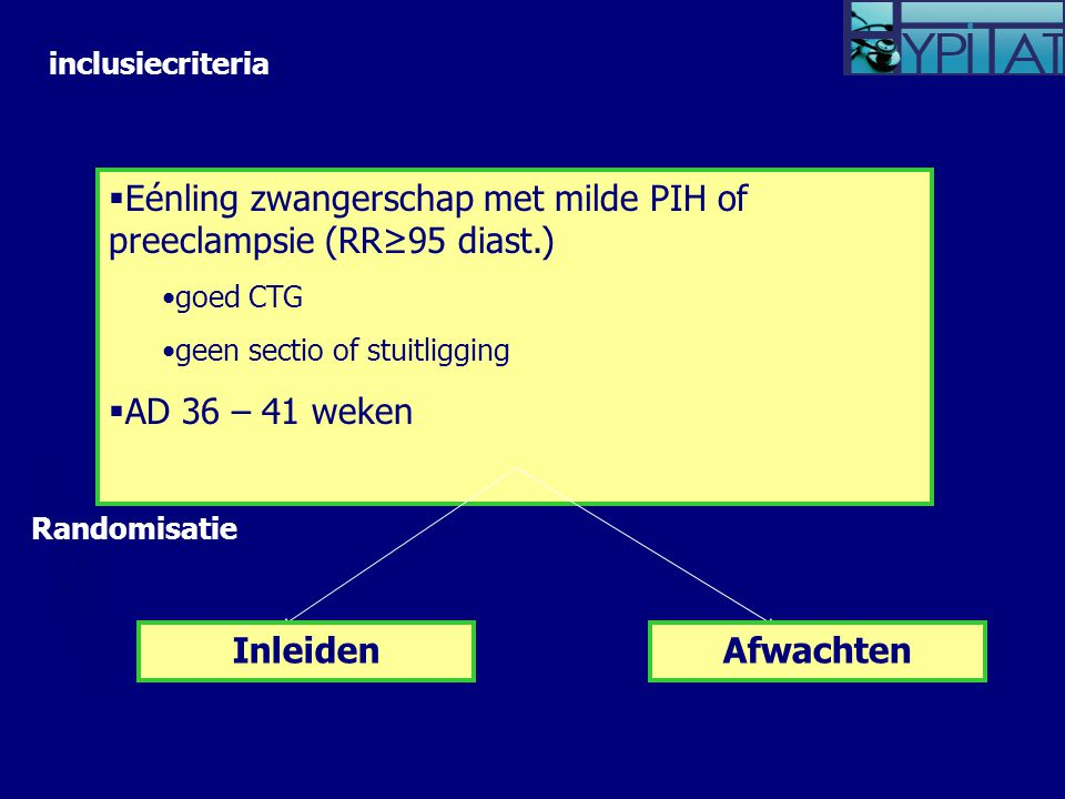  Eénling zwangerschap met milde PIH of preeclampsie (RR≥95 diast.) goed CTG geen sectio of stuitligging  AD 36 – 41 weken InleidenAfwachten inclusiecriteria Randomisatie