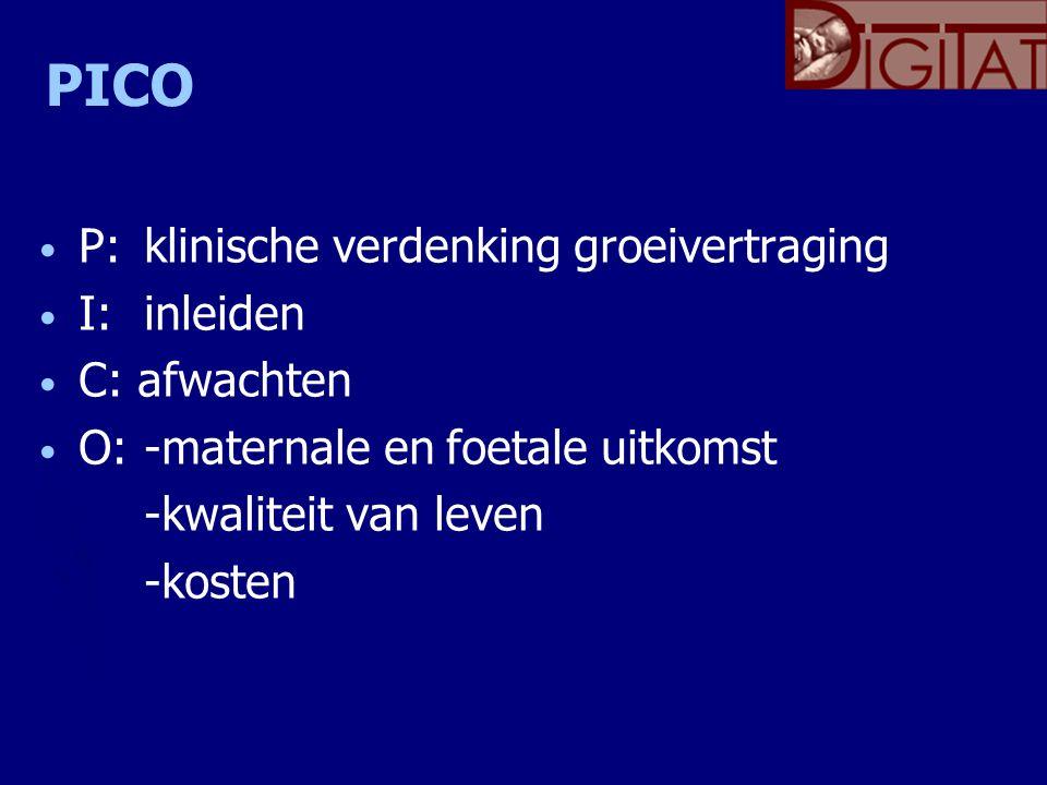 PICO P: klinische verdenking groeivertraging I:inleiden C: afwachten O: -maternale en foetale uitkomst -kwaliteit van leven -kosten