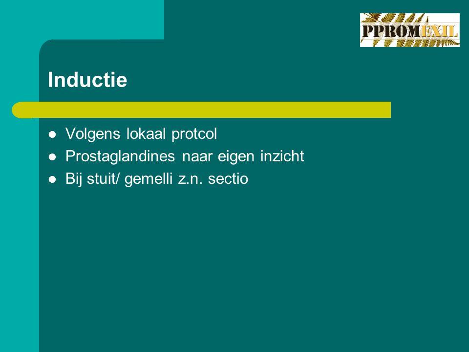 Inductie Volgens lokaal protcol Prostaglandines naar eigen inzicht Bij stuit/ gemelli z.n. sectio