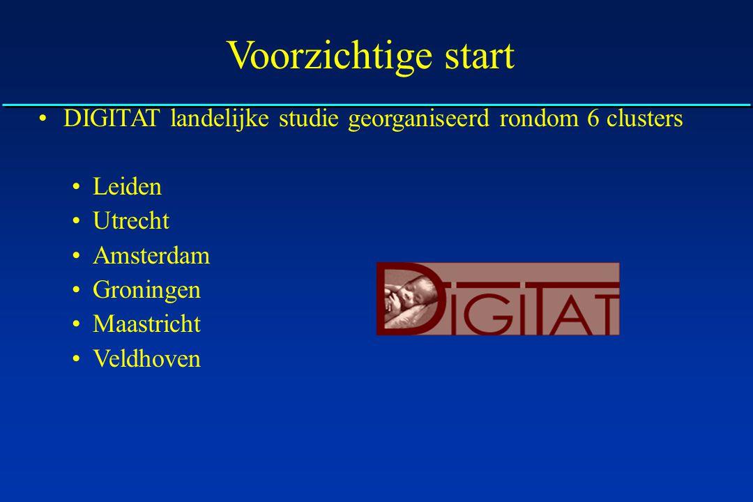 Voorzichtige start DIGITAT landelijke studie georganiseerd rondom 6 clusters Leiden Utrecht Amsterdam Groningen Maastricht Veldhoven