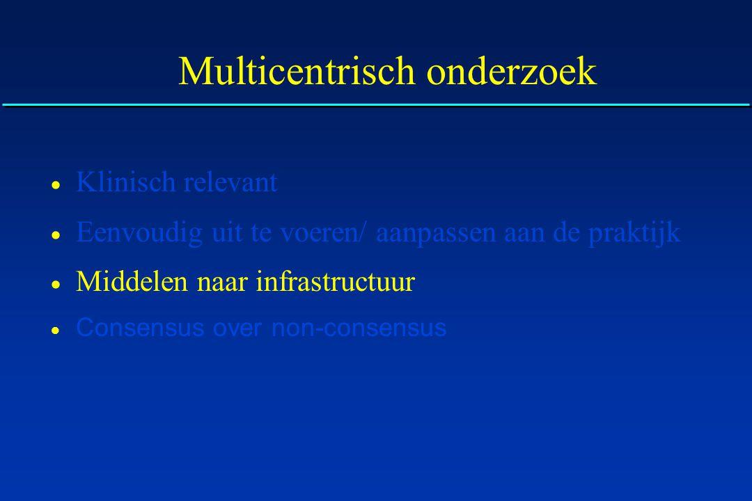 Multicentrisch onderzoek  Klinisch relevant  Eenvoudig uit te voeren/ aanpassen aan de praktijk  Middelen naar infrastructuur  Consensus over non-