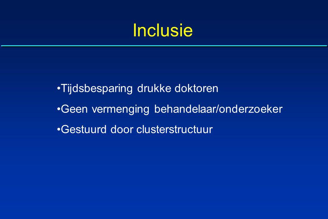 Inclusie Tijdsbesparing drukke doktoren Geen vermenging behandelaar/onderzoeker Gestuurd door clusterstructuur