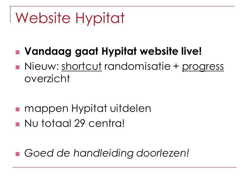 Website Hypitat Vandaag gaat Hypitat website live! Nieuw: shortcut randomisatie + progress overzicht mappen Hypitat uitdelen Nu totaal 29 centra! Goed