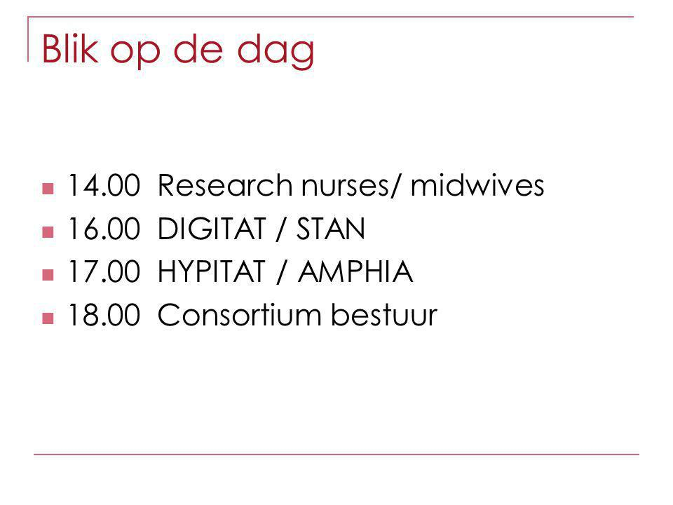 Blik op de dag 14.00 Research nurses/ midwives 16.00 DIGITAT / STAN 17.00 HYPITAT / AMPHIA 18.00 Consortium bestuur