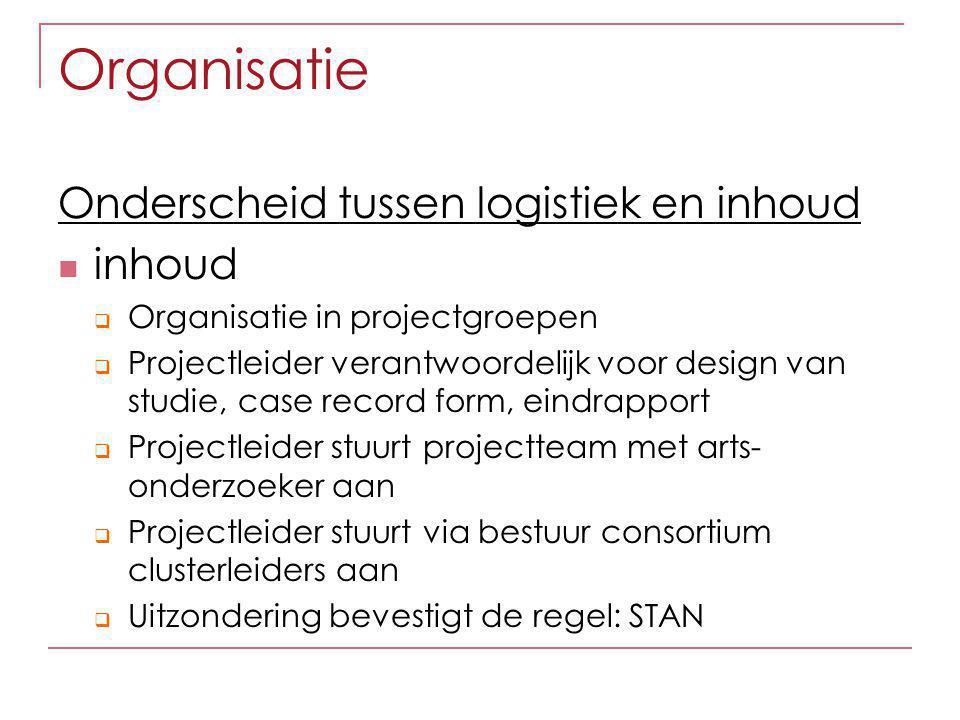 Organisatie Onderscheid tussen logistiek en inhoud inhoud  Organisatie in projectgroepen  Projectleider verantwoordelijk voor design van studie, cas