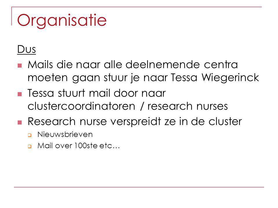 Organisatie Dus Mails die naar alle deelnemende centra moeten gaan stuur je naar Tessa Wiegerinck Tessa stuurt mail door naar clustercoordinatoren / r