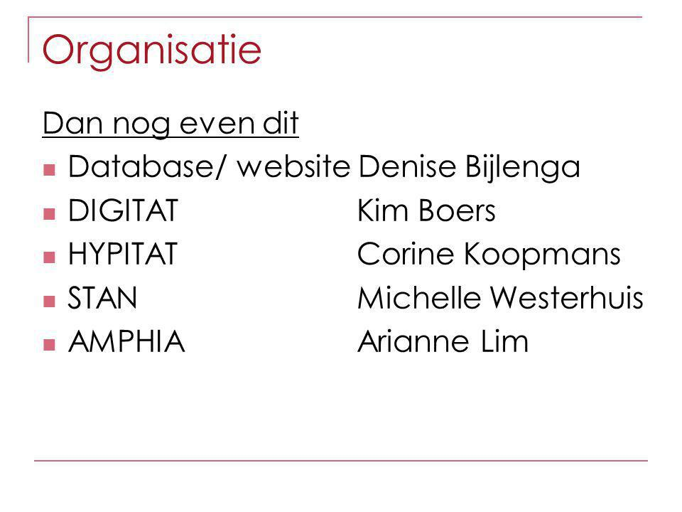 Organisatie Dan nog even dit Database/ website Denise Bijlenga DIGITAT Kim Boers HYPITAT Corine Koopmans STAN Michelle Westerhuis AMPHIA Arianne Lim