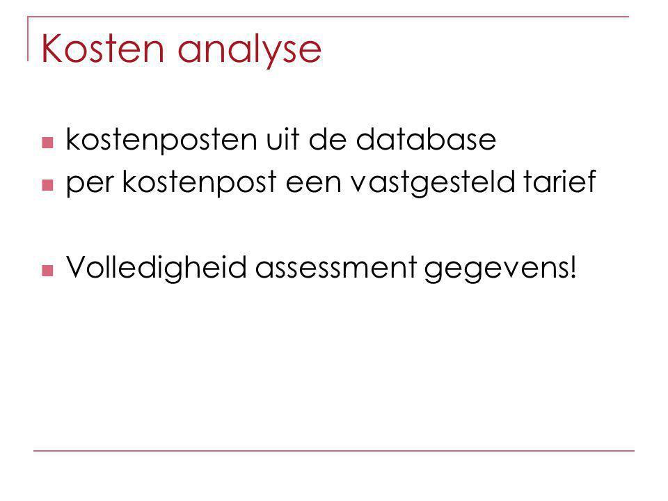 Kosten analyse kostenposten uit de database per kostenpost een vastgesteld tarief Volledigheid assessment gegevens!