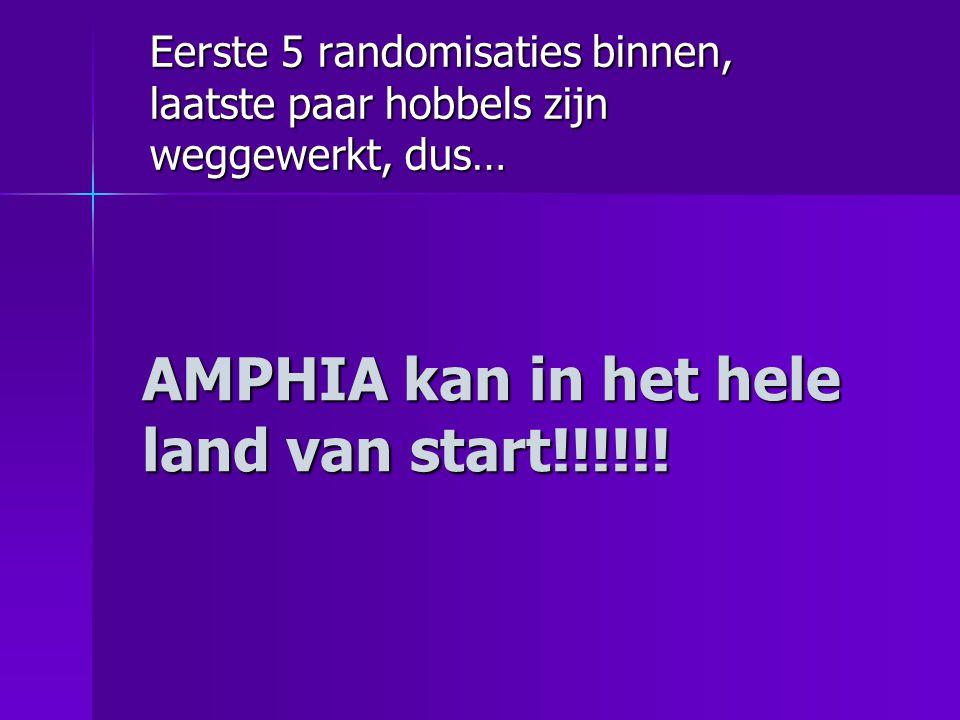 Eerste 5 randomisaties binnen, laatste paar hobbels zijn weggewerkt, dus… AMPHIA kan in het hele land van start!!!!!!