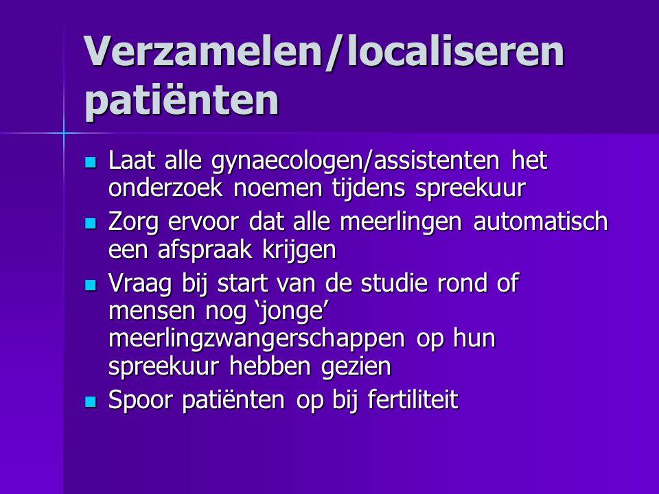 Verzamelen/localiseren patiënten