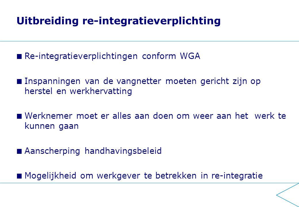 Uitbreiding re-integratieverplichting Re-integratieverplichtingen conform WGA Inspanningen van de vangnetter moeten gericht zijn op herstel en werkhervatting Werknemer moet er alles aan doen om weer aan het werk te kunnen gaan Aanscherping handhavingsbeleid Mogelijkheid om werkgever te betrekken in re-integratie