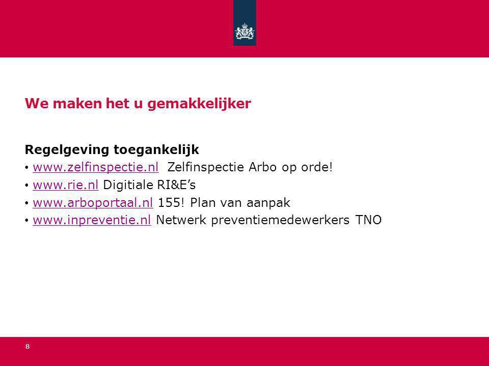 We maken het u gemakkelijker Regelgeving toegankelijk www.zelfinspectie.nl Zelfinspectie Arbo op orde!www.zelfinspectie.nl www.rie.nl Digitiale RI&E's