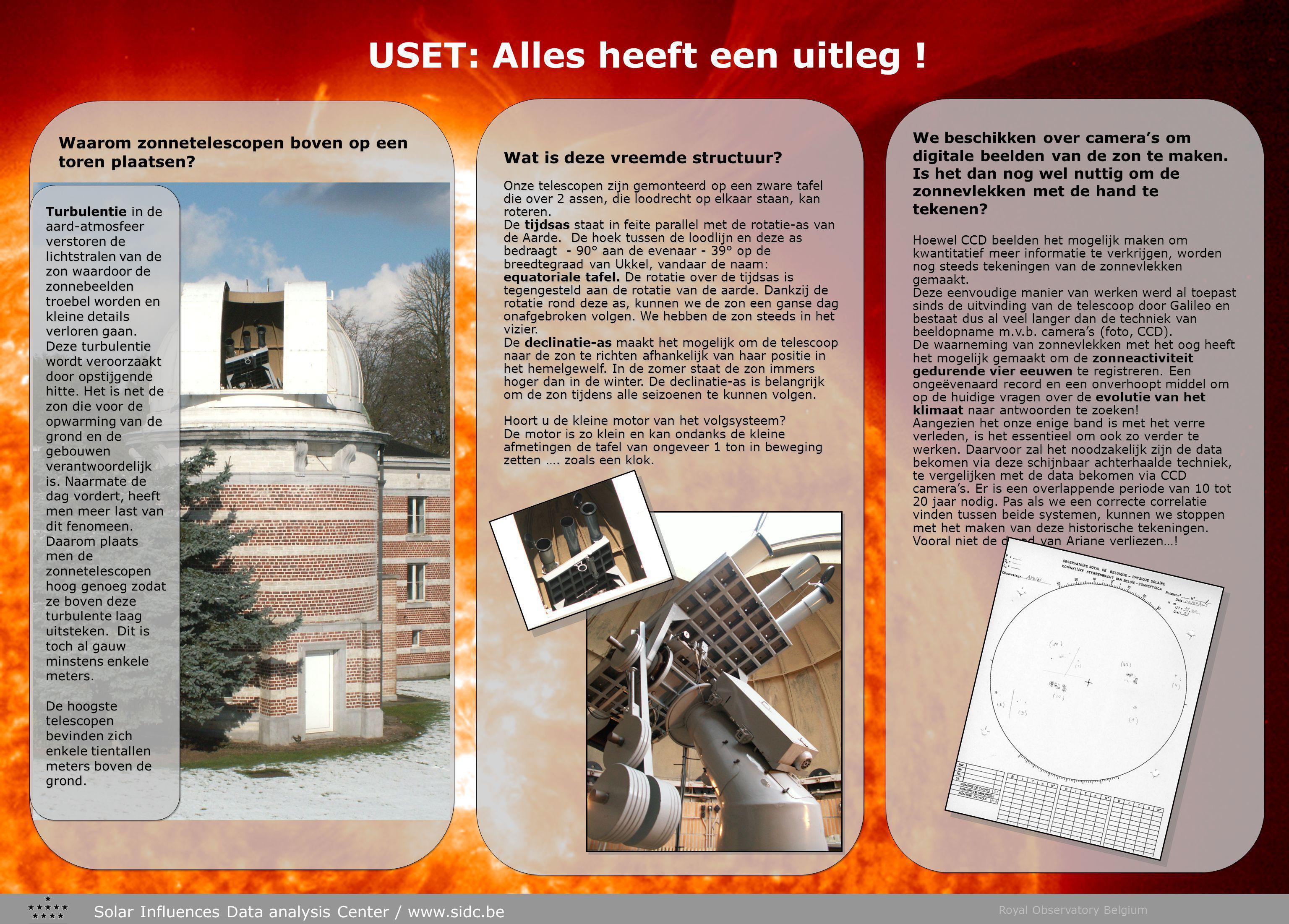 Solar Influences Data analysis Center / www.sidc.be Royal Observatory Belgium Waarom zonnetelescopen boven op een toren plaatsen.