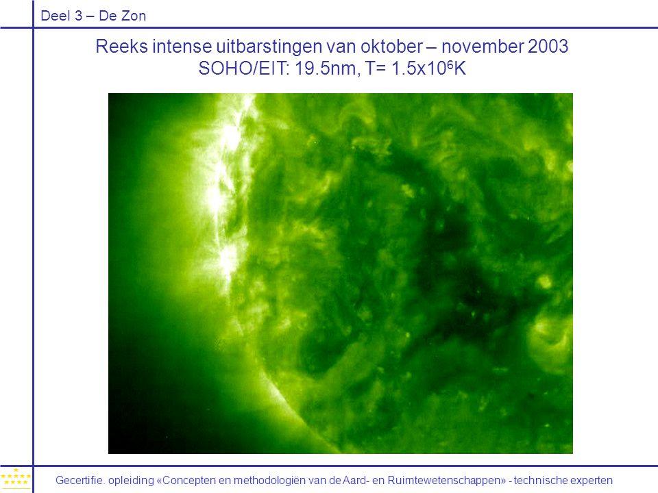 Deel 3 – De Zon Reeks intense uitbarstingen van oktober – november 2003 SOHO/EIT: 19.5nm, T= 1.5x10 6 K Gecertifie.