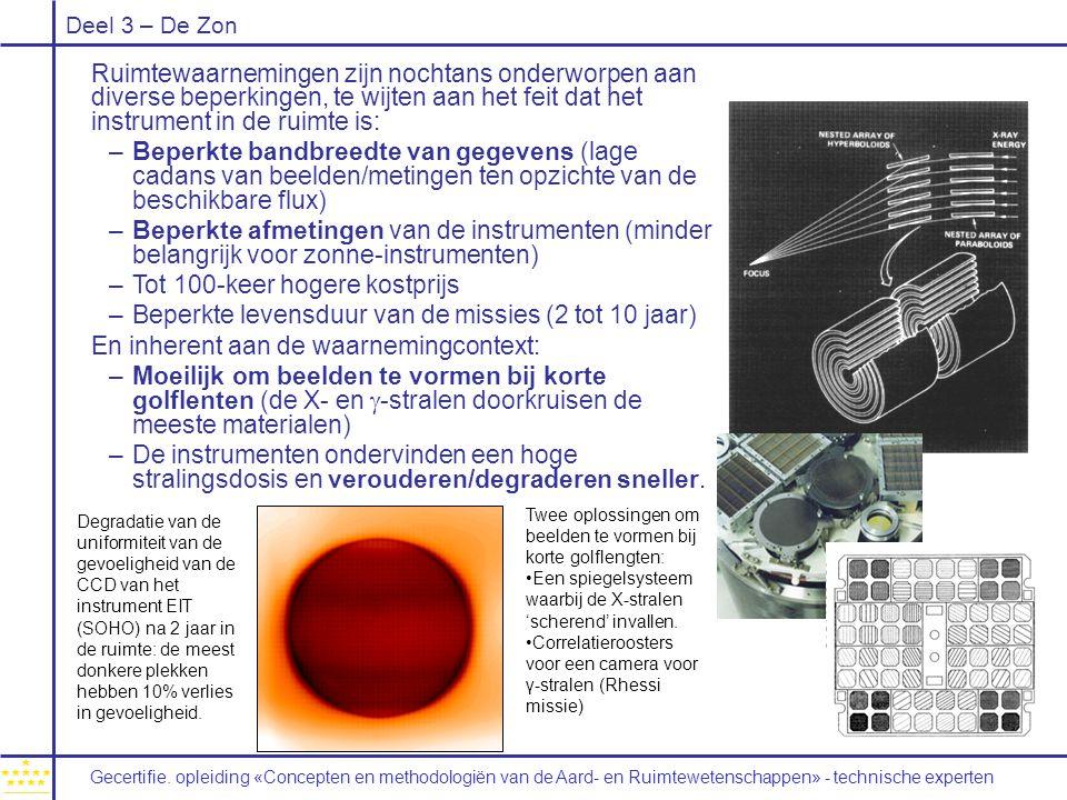 Deel 3 – De Zon Ruimtewaarnemingen zijn nochtans onderworpen aan diverse beperkingen, te wijten aan het feit dat het instrument in de ruimte is: –Beperkte bandbreedte van gegevens (lage cadans van beelden/metingen ten opzichte van de beschikbare flux) –Beperkte afmetingen van de instrumenten (minder belangrijk voor zonne-instrumenten) –Tot 100-keer hogere kostprijs –Beperkte levensduur van de missies (2 tot 10 jaar) En inherent aan de waarnemingcontext: –Moeilijk om beelden te vormen bij korte golflenten (de X- en  -stralen doorkruisen de meeste materialen) –De instrumenten ondervinden een hoge stralingsdosis en verouderen/degraderen sneller.