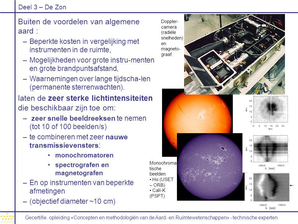 Deel 3 – De Zon Buiten de voordelen van algemene aard : –Beperkte kosten in vergelijking met instrumenten in de ruimte, –Mogelijkheden voor grote inst