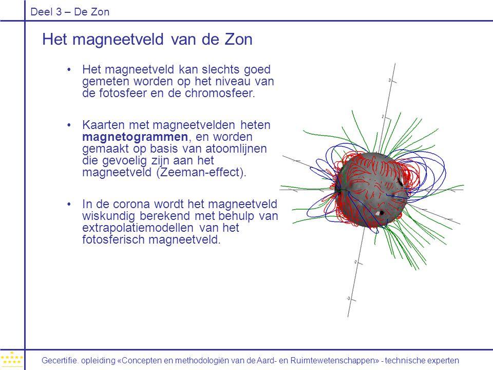 Deel 3 – De Zon Het magneetveld van de Zon Het magneetveld kan slechts goed gemeten worden op het niveau van de fotosfeer en de chromosfeer. Kaarten m