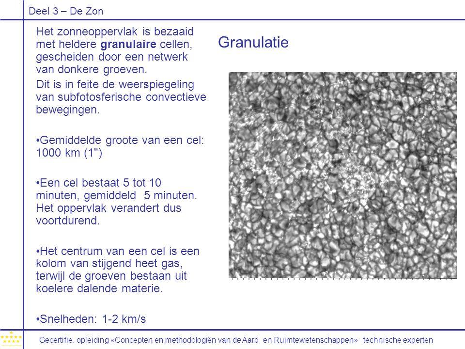 Deel 3 – De Zon Granulatie Het zonneoppervlak is bezaaid met heldere granulaire cellen, gescheiden door een netwerk van donkere groeven. Dit is in fei
