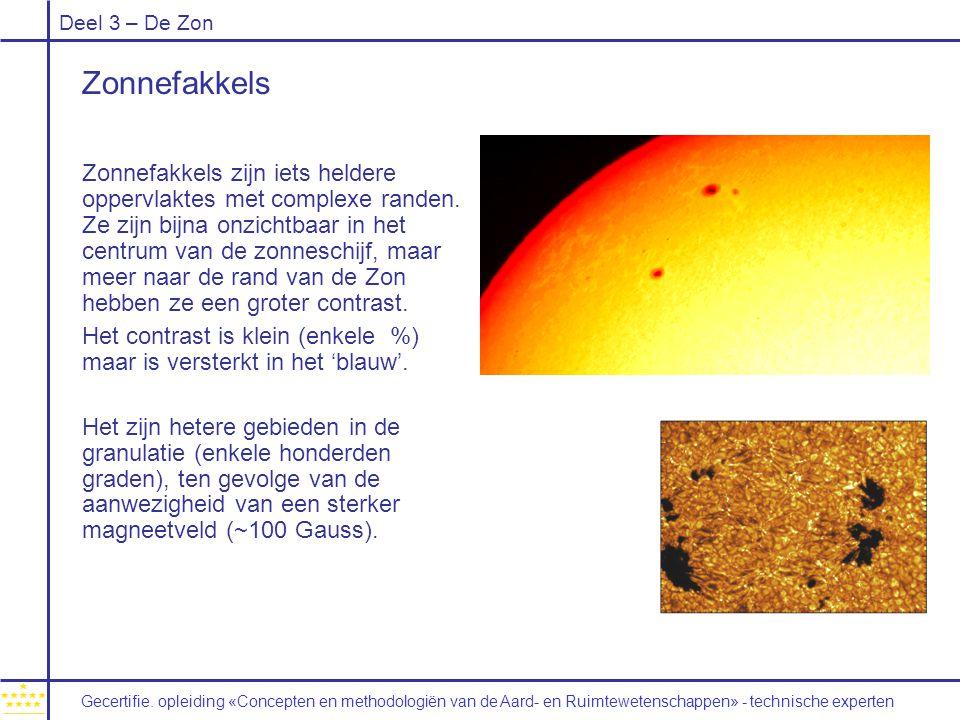 Deel 3 – De Zon Zonnefakkels Zonnefakkels zijn iets heldere oppervlaktes met complexe randen. Ze zijn bijna onzichtbaar in het centrum van de zonnesch